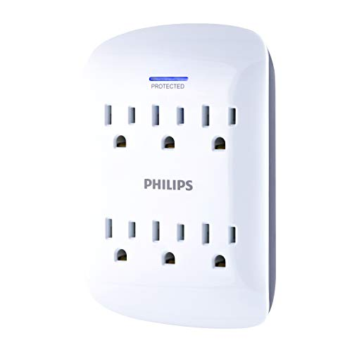 Philips 6 Outlet Surge Protector Outlet Adapter, Wall Tap Power Strip, Protected Indicator Light, 125V AC, 15A, 1875W, 900 Joules, ETL Listed, Gray and White Finish, SPP3461WA/37 - Sechs-outlet Surge Strip