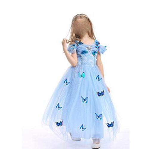 Zhao Li Kinderbekleidung Cinderella Princess Rock Mädchen Tutu Röcke Performance Kleid (Color : Blue, Size : 110CM)