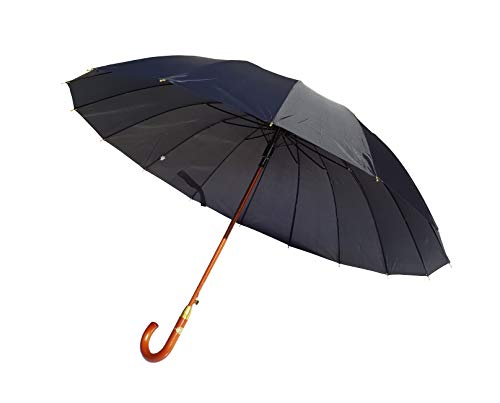 Paraguas XXL 134 cm clásico de 16 Varillas Antiviento Gran tamaño Apertura automática puño Madera