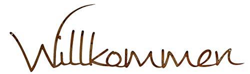 Rostikal   Edelrost Schriftzug Willkommen   Deko für Türkranz Hauseingang zum hängen  35 x 9 cm