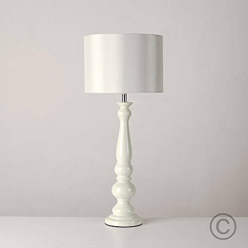 Large Pastel Green Spindle Column Base Table Lamp With Cream Fabric Pendant  Light Shade