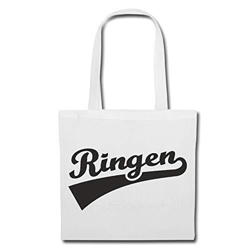 Tasche Umhängetasche RINGEN - RINGER - KARATE - JUDO - KAMPFSPORT Einkaufstasche Schulbeutel Turnbeutel in Weiß -