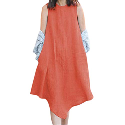 HHyyq Fashion Women's Summer Dress o-Neck Simple Plain Irregular Sleeveless Unregelmäßige Tops Kleid Dünne Blusen Frauen Casual Sommer Ärmellose Tank Strand Maxi-Kleid Einfarbig(Orange,XXL) -