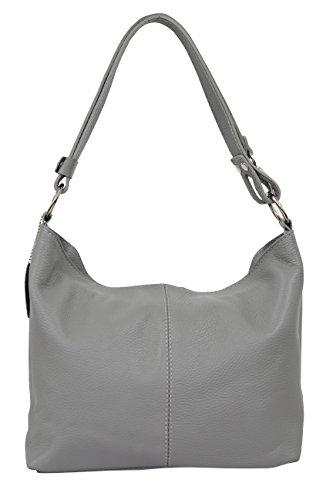 AMBRA Moda Damen Leder Handtasche Schultertasche Umhängetasche Hobo bag GL005 (Grau) (Handtaschen Grau Leder)