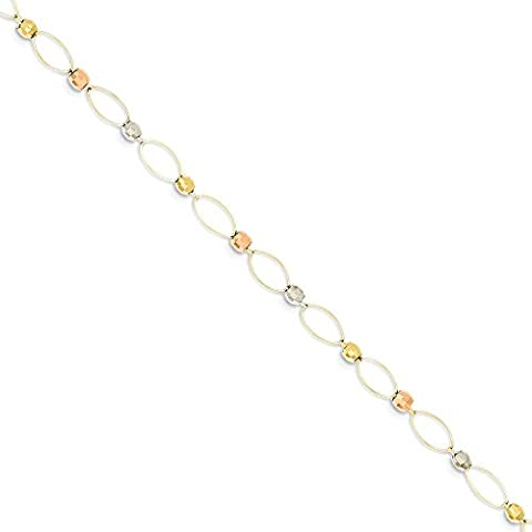 IceCarats 14k Gold Tri Color Oval Link Two Tone Mirror Beads Bracelet 7.50 Inch Chain Fancy
