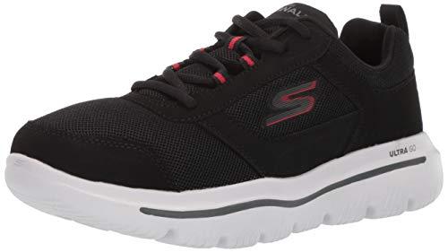 Skechers Go Walk Evolution Ultra-Enhan, Scarpe da Ginnastica Uomo, Nero (Black Synthetic/Red Trim BKRD), 48 EU
