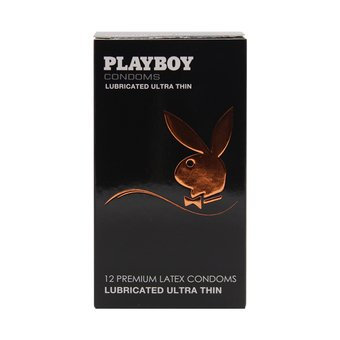 Playboy Lubricated Premium Latex Condoms - 12N - Pack of 2 (Ultra Thin)  available at amazon for Rs.170