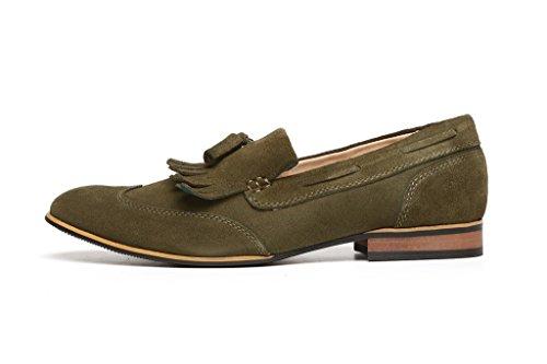 Cuir Pour Hommes cuir suédé Chaussures Créateur DécontractéÀ Enfiler Mocassins À Glands Embout taille Kaki