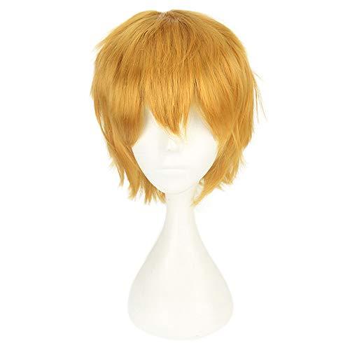 Quaan Perücke Haar Perücken Weiblich Blond Licht gewellt Kurz Zum Karneval Cosplay Multi Farbe Kurz Gerade Anime Party Voll Perücken 35cm