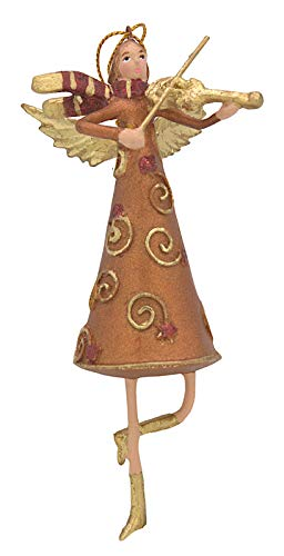 Engel mit Geige, Deko Hänger mit Verzierungen, Christbaumschmuck, kupfergold, rot, 14 cm