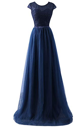 Mode Brautjungfer Kleider (Babyonlinedress® Mode Elegant Spitzen Abendkleid Brautjungfer Trauzeugin Kleider Brautkleid Tüll Faltenrock Partykleid Langes Kleid Navyblau 46)