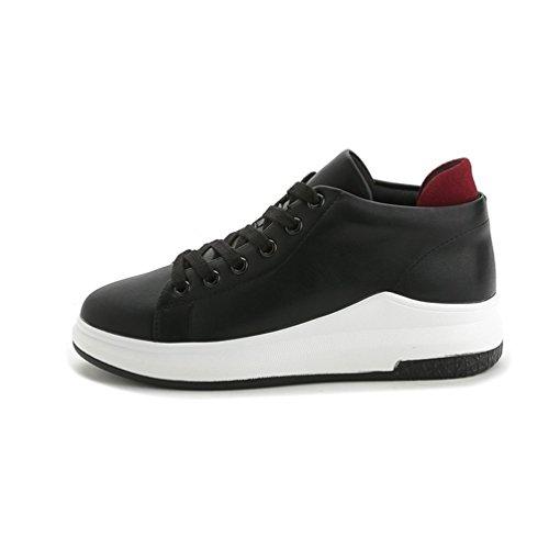 Damen Sneakers Low Top Turnschuhe Flat Schnürer Freizeit Schuhe Schwarz