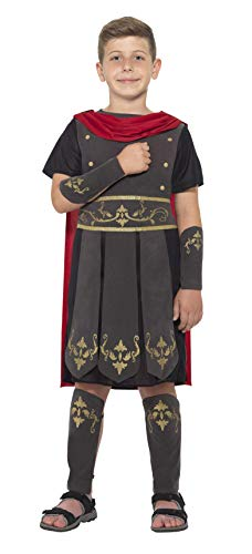 Smiffys 45477S - Kinder Jungen Römischer Soldat Kostüm, Tunika, Umhang, Arm und Bein Stulpen, Alter: 4-6 Jahre, schwarz