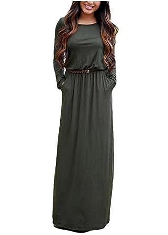 Damen Kleider Lang Sommer Und Herbst Eleganz Dünnen Runden Ausschnitt Mit Langen Ärmeln Kleid Bohemien (XL, Rot)