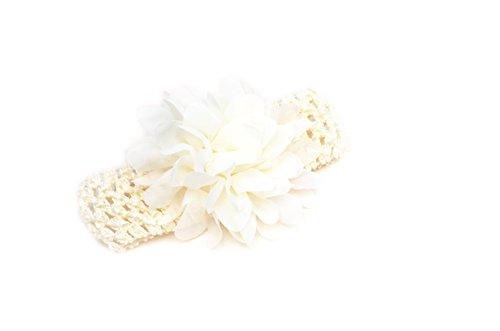CAOLATOR 1X schönes Haar Band Baby Stirnbänder Chiffon Haar Blume Element Typ Kopfbedeckungen für Mädchen (Hellweiß)