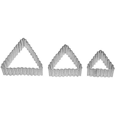 RBV Birkmann triángulo moldes para galletas, diseño estriado, 3-compartimento Terr.; Hojalata,