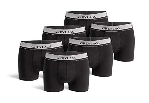 Greylags Premium Boxershorts/Retroshorts für Herren | Unterwäsche im praktischen 6er Pack | Farbe: schwarz | Größe L | Röhre Lang