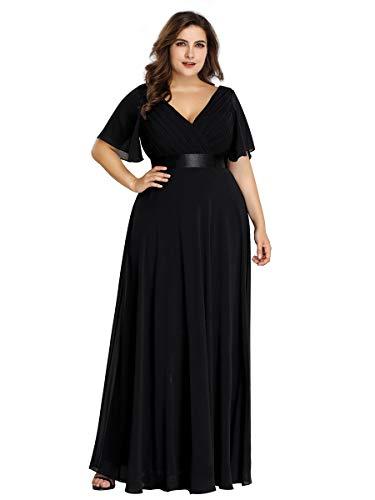 Ever-pretty vestito da sera donna scollo a v stile impero linea ad a maniche corte taglie forti nero 58