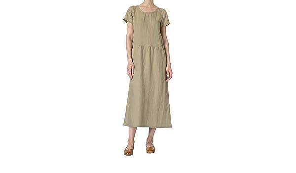 7cfb85d29970 Women's Cotton Linen Maxi Dress Plus Size Summer Long Gown Kaftans Short Sleeve  Vintage Loose Casual Plain O-Neck A-Line Dresses Vestidos with Pockets ...