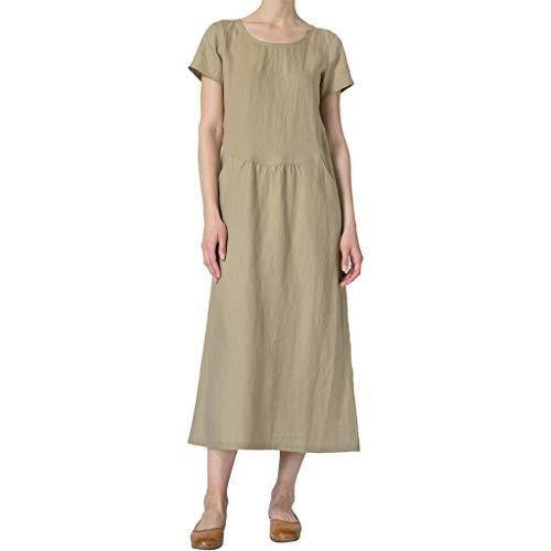 Sleeveless Geraffte Spitze (Elegante Kleider Damen Kleid Cocktailkleider Ronamick Mode Frauen Feste O-Neck Kurzarm Leinen Zwei Taschen Geraffte lässige Kleidung(M, Khaki))