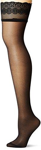 Sheer Thigh High Strümpfe (DKNY Damen Sheer Lace Thigh High Strümpfe, schwarz, Small/Medium)