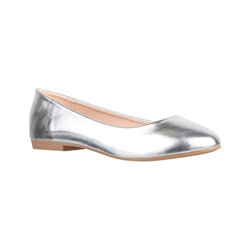 Elara Damen Ballerina Bequeme Slip-Ons Flach chunkyrayan B3039H-BL Silver-39