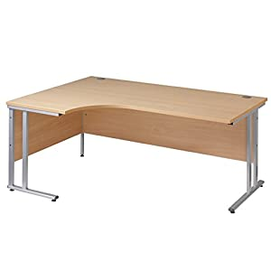 Ergonomic 1600mm Left Hand Oak Corner Office Desk Computer Table