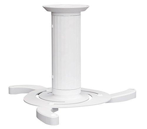 Pronomic FPRM-1 WT Beamer Deckenhalterung Weiß (austauschbare Zylinder 8cm und 13cm, 360°drehbar, 15° links oder rechts neigbar, 10kg Traglast, incl. Schraubensatz und Montageanleitung)