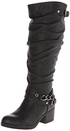 Kunstleder Stiefel Black by hoch Carlos Mode Knie Santana Cassie Carlos Rund wzq8nXqpv