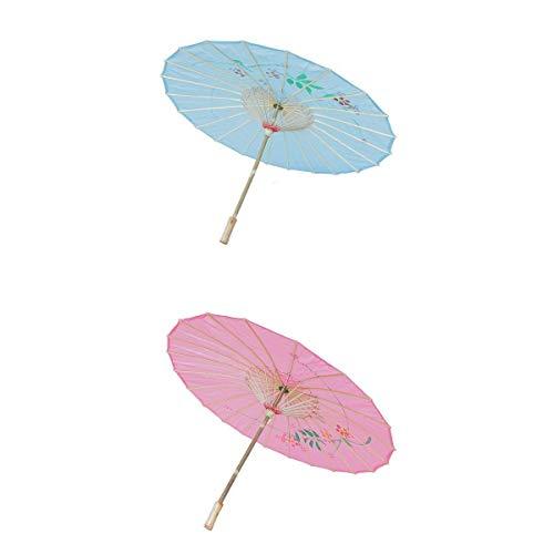 Japanisch Orientalisch Stoff (FLAMEER 2X Retro Regenschirm Sonnenschirm Tanz Schirm Deko Schirm mit Orientalischer Design, Geschenk für Damen und Mädchen)