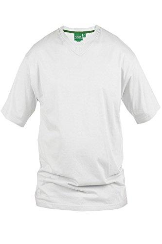 Duke D555 - Maglietta a maniche corte da uomo, in cotone, per taglie forti White