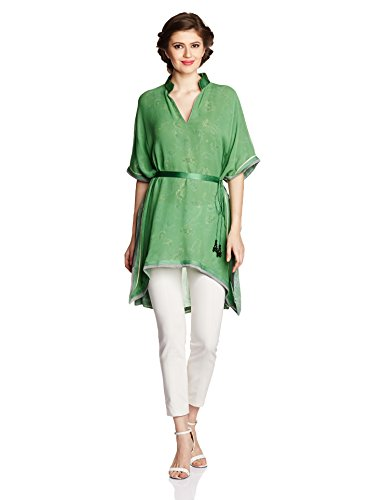 Tarun Tahiliani Designer Women's Straight Tunic with Belt (IND-TU-1_Green_Large)