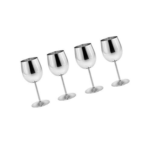 Sharplace 4/6x Edelstahl Weinbecher Set - Silber, 4 Stück