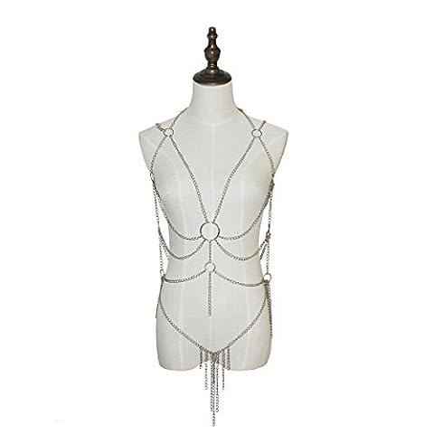 adesugata Damen Sexy Quaste Harness Body Kette Dessous Damen Body Pyjama sexy Drei Point Perspektive Unterwäsche Sets