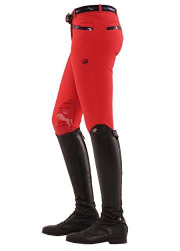 SPOOKS Reithose für Damen Mädchen Kinder, Knie-Grip-Besatz Reithosen Leggings Turnierreithose - Ricarda Knee Grip Sequin - Red XXS