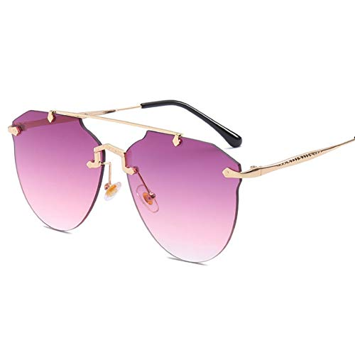 YLNJYJ Mode Frauen Randlose Sonnenbrille Luxusmarke Designer Gold Metallrahmen Sonnenbrille Vintage Rosa Uv400 Sonnenbrille Damen Shades