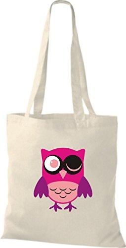 Owl ShirtInStyle diverse Farbe Tragetasche niedliche Jute Stoffbeutel Retro Eule Bunte natur 1YOwYr8q