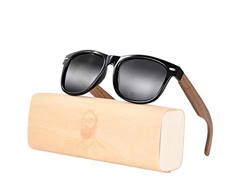 MADEN Herren & DamenSonnenbrille Hochwertige UV400 CAT 3 CE ,Amexi HolzSonnenbrillen mit Brillen-Etui -Schraubenzieher und Tascheund Brillenputztuch