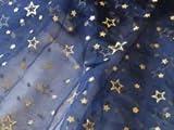 Organza Stoff dunkel blau Meterware GLITZER Sterne