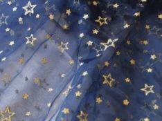 Organza Stoff dunkel blau Meterware GLITZER Sterne Dunkel Blau Stoff