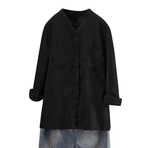 Lazzboy Donna Plus Size Camicie Tinta Unita Cotone Manica Lunga Doppia Tasche Casual Button Down T-Shirt Bluse(3XL(50),Nero)