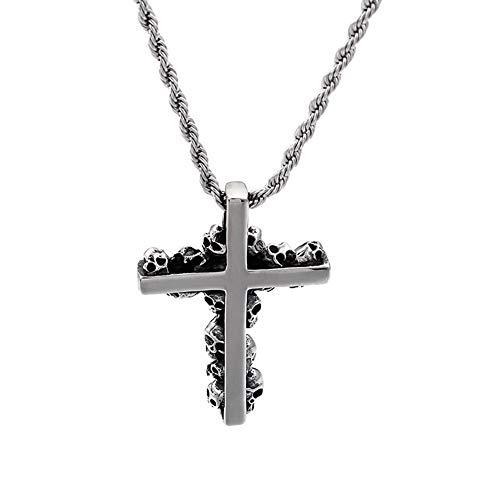 Hip-Hop-Anhänger, Schädel-Kreuz Halskette Iced Out gotisch Rostfreier Stahl Kette Skelett Kruzifix Anhänger Überzogen Punk Rock Stil Mode Schmuck Zubehör zum Männer Gläubige Geschenk