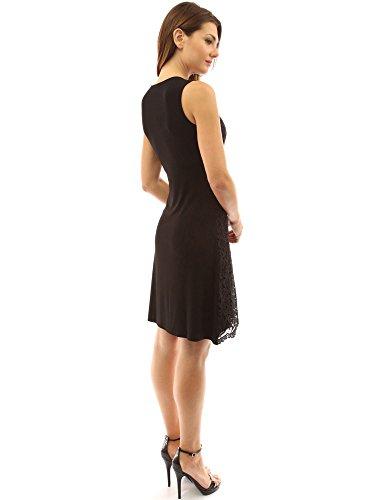 PattyBoutik femmes robe mi-longue en dentelle sans manches avec col rond Noir