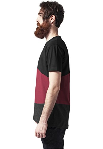 Urban Classics Herren T-Shirt Long Shaped Zig Zag Tee blk/burgundy/cha