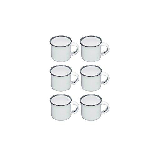 Kitchen Craft Living Nostalgia Emaille Espresso Tassen, 90ml (3FL Oz)-Weiß/Grau (Set von 6), Espresso-tasse Set