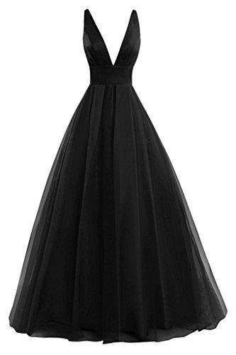 JAEDEN Sexy Damen A-Linie Tuell Ballkleider Lang V-Ausschnitt Abendkleid Festkleid Brautjungfernkleid Schwarz