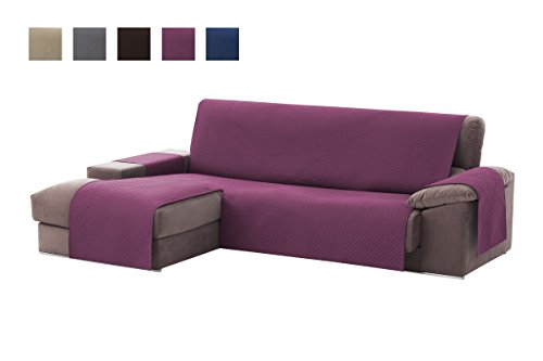 Textil-home Adele Chaise Longue Sofa Bezug, Schutz für Linke Arm Gesteppte Sofas. Größe -200cm. Farbe Mauve (Vorderansicht)