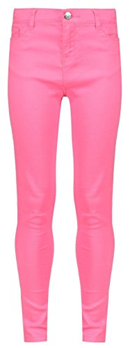INTEGRITI Girls Plain Skinny Jeans Trousers Turquoise Blue Yellow Pink Age 3 4 5 6 7 8 9 10 11 12 13 Years Cotton Twill