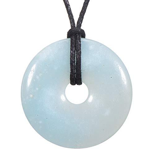 Morella collane da donna 80 cm con pendenti di pietre preziose a forma di ciambella donut amazzonite in sacchetto di velluto