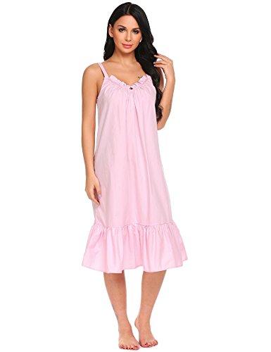 Skione Damen Träger Kleid Nachthemd Baumwolle Nachtwäsche Lang Pyjama Schlafanzüge mit Rüschen Dekoration Nachtkleid Viktorianischer Stil Negligees Reine Farbe Weiß Grau Rosa (S-XXL)